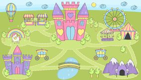 公主城堡戏剧席子女孩的活动比赛 库存例证