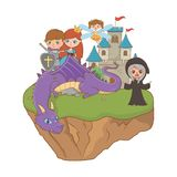 公主童话设计传染媒介例证神仙的巫婆骑士和龙  库存例证