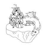 公主童话设计的龙和骑士 向量例证
