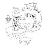 公主童话设计神仙和龙  库存例证