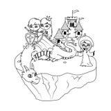 公主龙童话设计的巫婆和骑士 皇族释放例证