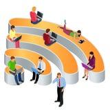 公众自由Wi-Fi热点区域无线连接 社会网络通信概念 等量平的3d传染媒介 免版税库存图片