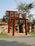 公众长凳在Sukhothai期间呼吁 库存图片