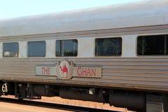 公共交通工具乘长途火车Ghan,澳大利亚 免版税库存照片