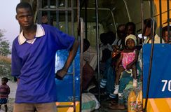 公共交通工具在莫桑比克。 免版税图库摄影