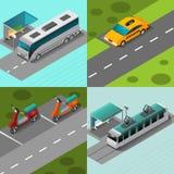 公共交通工具集合 库存例证