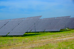 太阳电池板。 库存照片