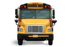 公共汽车前学校视图 免版税图库摄影