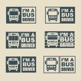 公共汽车司机标签 免版税库存照片