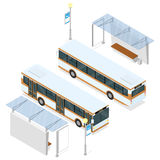 公共汽车和风雨棚 库存例证