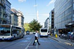 公共汽车在日内瓦,瑞士 库存图片