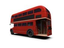 公共汽车在红色白色的分层装置双 免版税库存照片