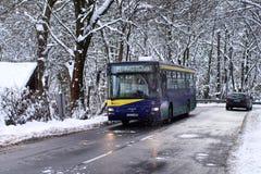 公共汽车山线在匈牙利在冬天 免版税库存照片