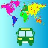 公共汽车旅行 映射大陆和运输象伟大为其中任一用途 免版税图库摄影