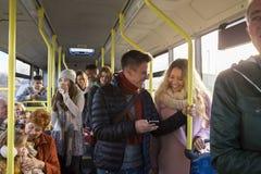 公共汽车的人们 免版税库存照片