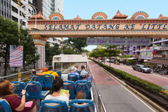 公共汽车的游人有露天甲板的,吉隆坡,马来西亚 免版税库存照片