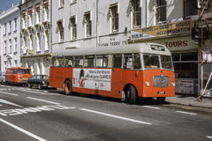 公共汽车的葡萄酒图象在泽西 免版税图库摄影
