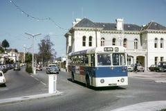公共汽车的葡萄酒图象在泽西 免版税库存照片