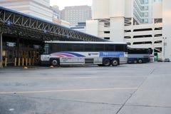公共汽车的里面联合驻地停车库在费城市 免版税图库摄影