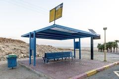公共汽车站ÑˆÑ Massada古老堡垒的'废墟在山的在死海附近在南以色列 库存图片
