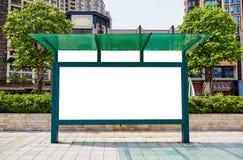 公共汽车站广告牌,空白的广告牌 库存照片