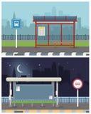 公共汽车站的传染媒介例证与城市地平线的 免版税图库摄影