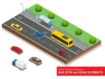 公共汽车站 等量公共汽车、轿车、出租汽车,货物,微型和公共汽车站的套 库存图片