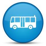 公共汽车象特别深蓝蓝色圆的按钮 库存图片