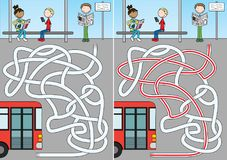 公共汽车迷宫 向量例证