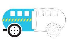 公共汽车sekolah dengan gaya goresan jahitan 图库摄影