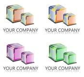 公司与立方体的商标设计 免版税库存图片