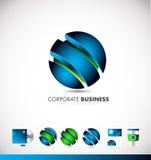公司业务蓝色3d球形商标象设计 库存照片