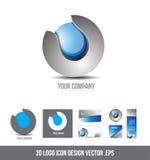 公司业务3d商标球形灰色蓝色设计 库存图片