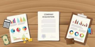 公司承购与文书工作文件的概念例证在桌上 库存例证