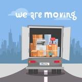 公司搬入新的办公室 企业搬迁在新的地方 在箱子的事在卡车集合 有打印机的,堆卡车  向量例证