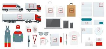 公司本体模板集合 品牌设计 空白的白色模板 企业文具大模型 对图表 免版税库存图片