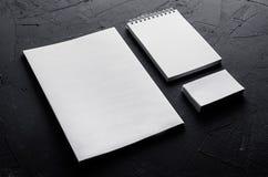 公司本体模板,在深灰具体纹理的文具 为烙记的,图表设计师介绍和p嘲笑  免版税库存照片