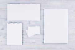 公司本体模板,在软的浅兰的木板的文具 为烙记的,图表设计师介绍嘲笑和 免版税库存照片