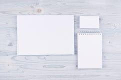 公司本体模板,在软的浅兰的木板的文具 为烙记的,图表设计师介绍嘲笑和 库存照片