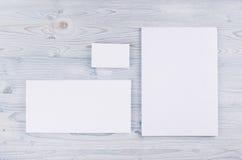 公司本体模板,在软的浅兰的木板的文具 为烙记的,图表设计师介绍嘲笑和 库存图片