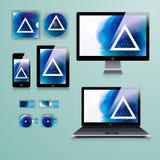 公司本体的现代应用模板设计 计算机片剂和电话机 免版税图库摄影