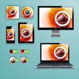 公司本体的现代应用模板设计 计算机片剂和电话机 库存图片