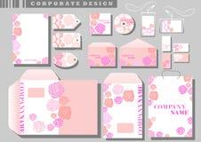 公司本体粉红色玫瑰模板 向量例证