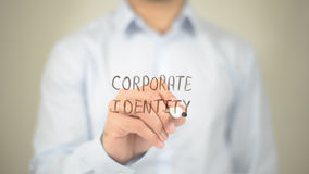 公司本体,在透明屏幕上的人文字 免版税图库摄影