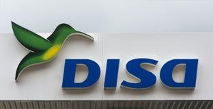 公司的商标和名字在石油产品的在黄雀色Islan 免版税库存图片