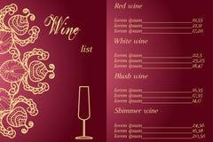 公司设计酒类一览表对于信息、广告和促进 豪华和高雅 库存图片