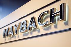公司`迈巴赫`的商标和名字 库存照片