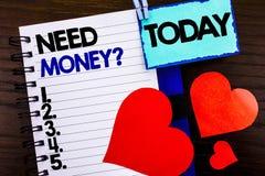 公告文本陈列需要金钱问题 意味经济财务危机,现金贷款的概念在笔记本书需要写 库存照片