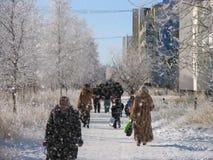公园。自然冬天风景。 库存图片