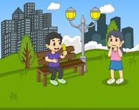 公园动画片的孩子 免版税库存图片